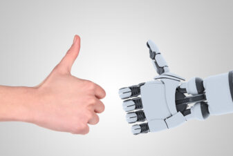Robot and man hands showing gesture, isolated on white background.